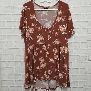 Torrid Babydoll Floral Top Size 3x